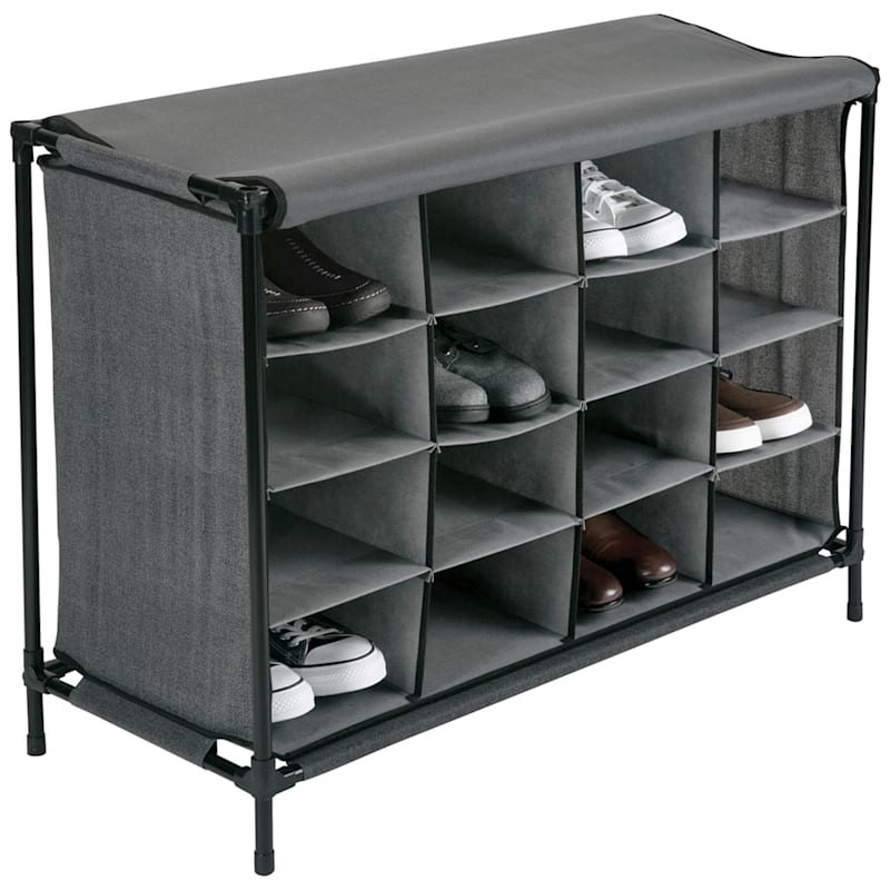 16 Cube Stackable Shoe Rack/Cover Grey