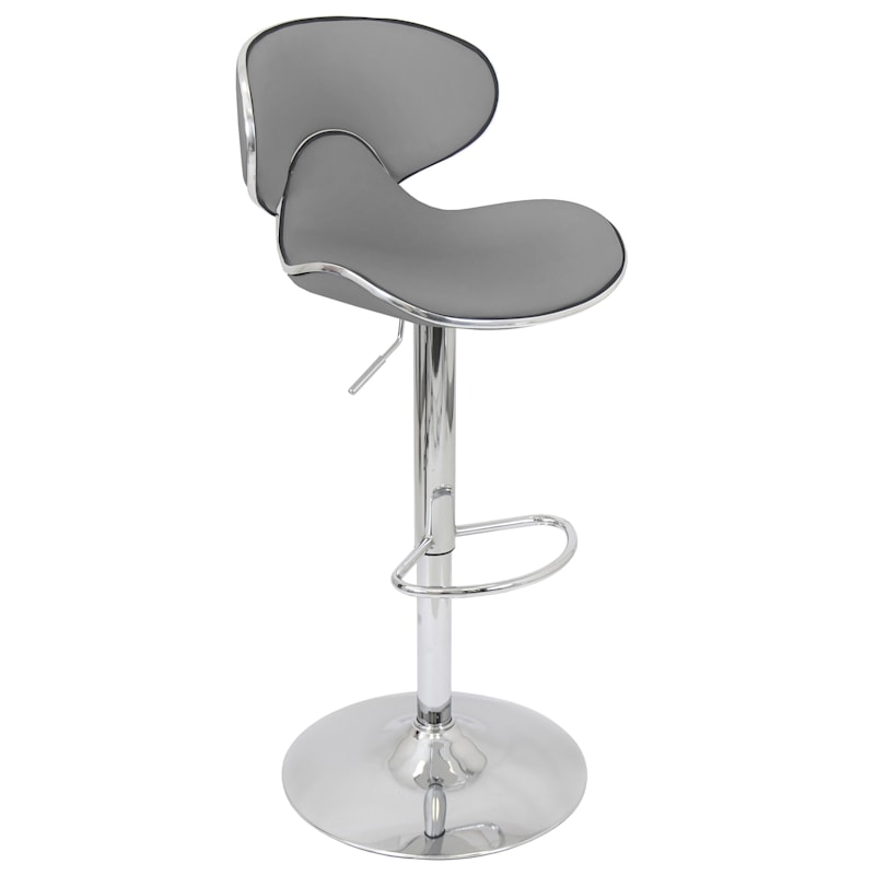 Duo Grey Faux Leather Adjustable Barstool