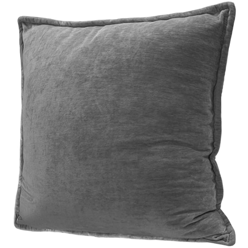 Maya Dark Grey Chenille Velvet Pillow 24X24