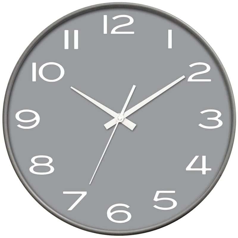 14in. Grey Round Contemporary Wall Clock