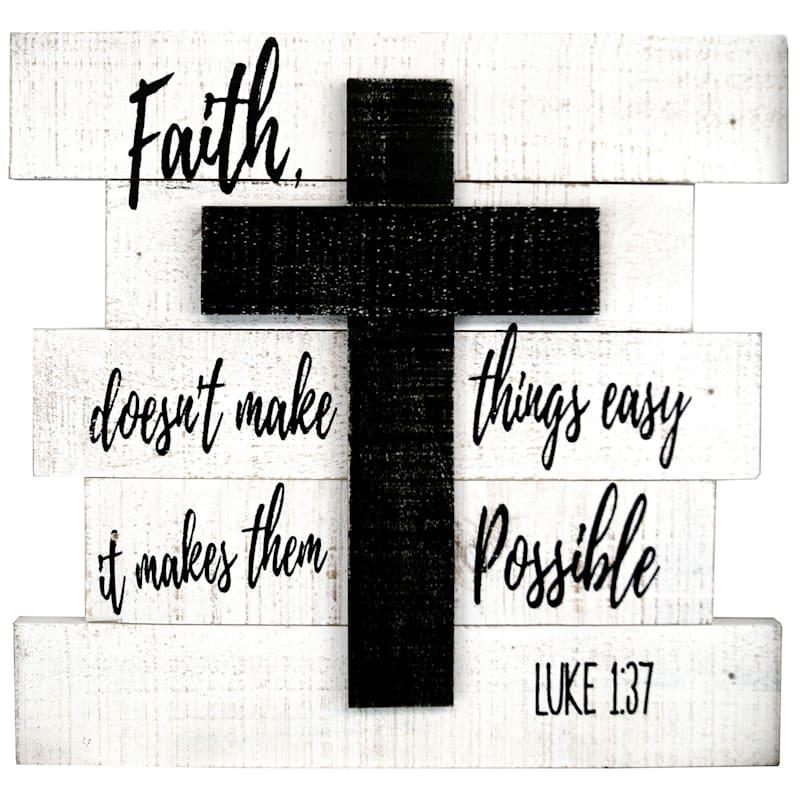 16X15 Faith Cross Pallet Wall Art
