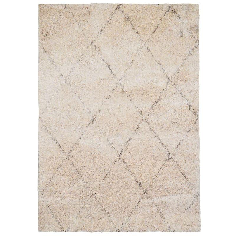 (C103) Soft Diamond Patterned Long Pile Ivory & Grey Shag Rug, 8x10