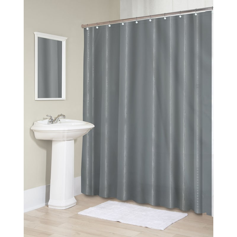 Sheer Grey Fabric Shower Curtain Liner 70X72