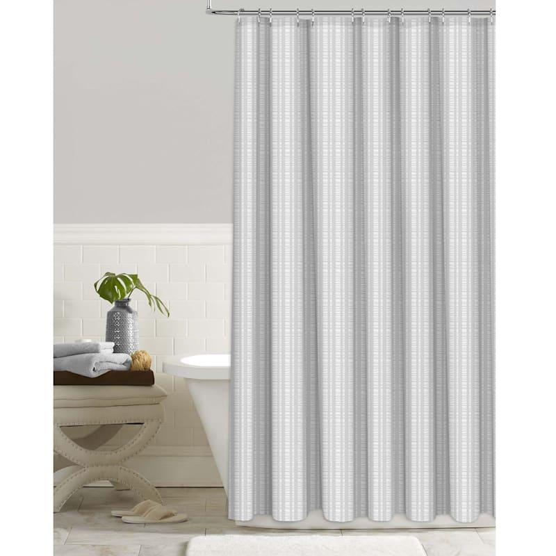 Grey Seersucker Embossed Shower Curtain 72X72