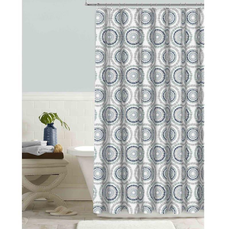 Kaleidoscope Indigo Embossed Shower Curtain 72X72