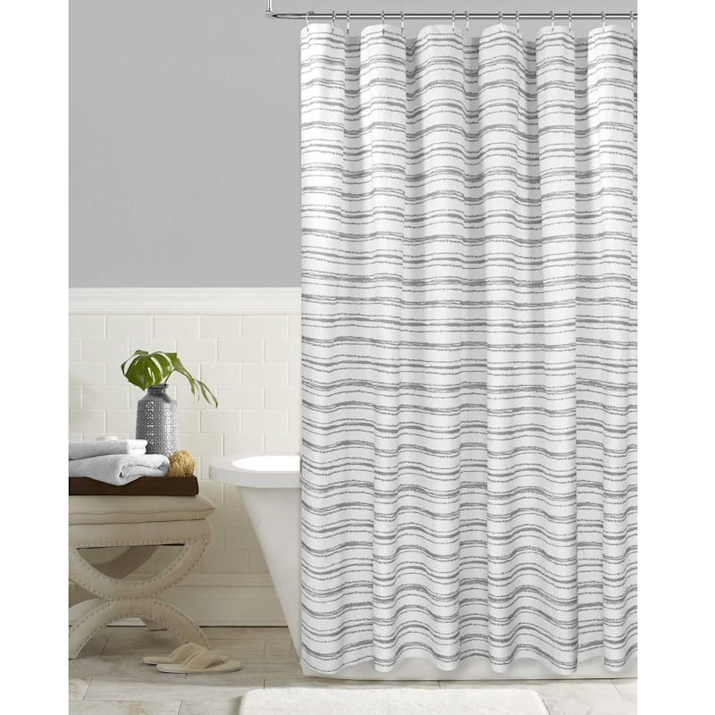 Grey Parallel Stripe Embossed Printed Shower Curtain 72X72