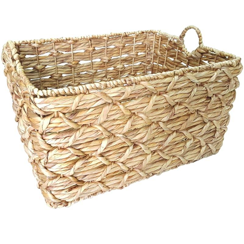 White Rectangle Basket Weave Round Handle XL