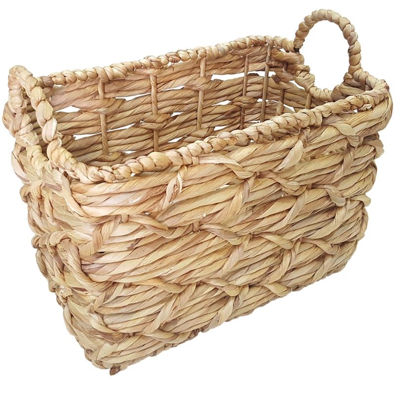 White Rectangle Basket Weave Round Handle S