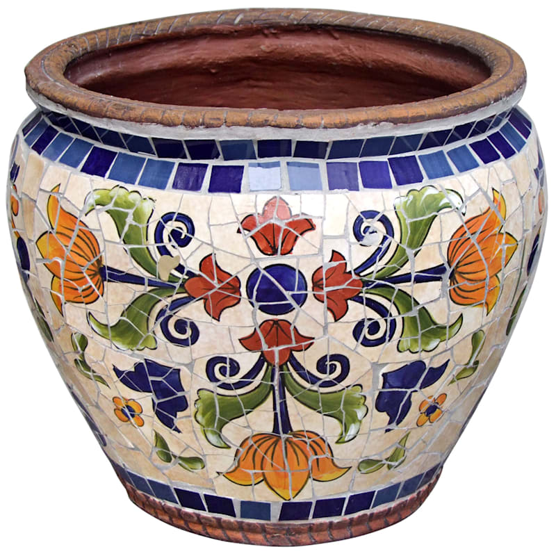 14.5in. Vila Majrca Mosaic Round Planter