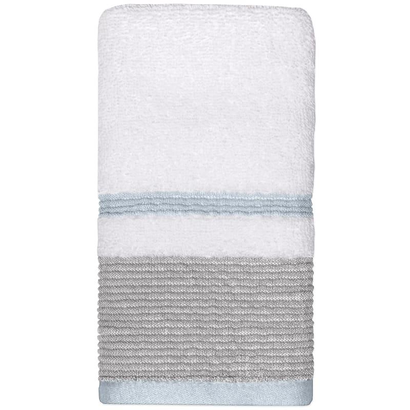 Samantha Aqua/Grey Finger Tip Towel