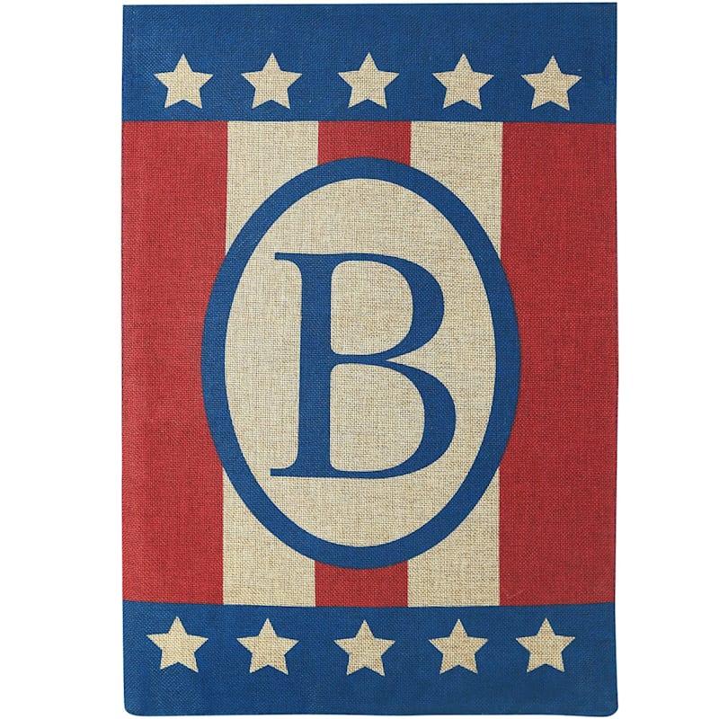 Burlap 'B' Patriotic Monogram