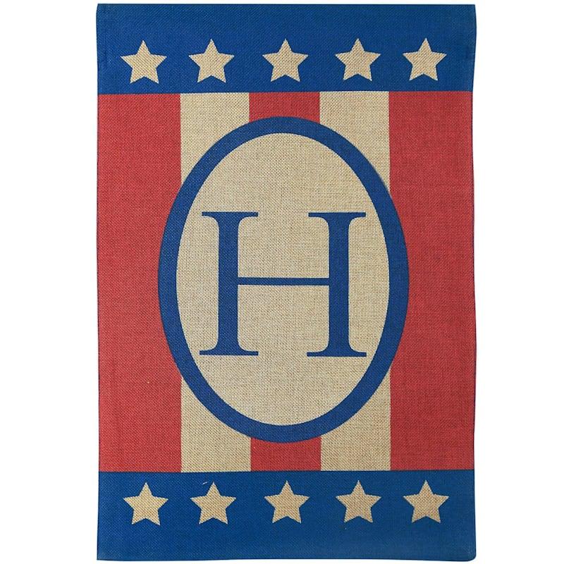 H Burlap Monogram Patriotic