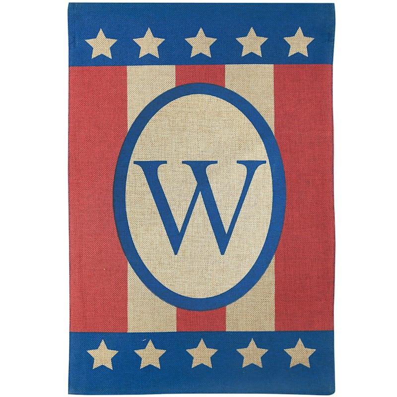 W Burlap Monogram Patriotic
