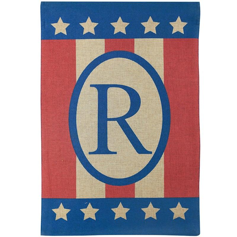 Burlap 'R' Patriotic Monogram