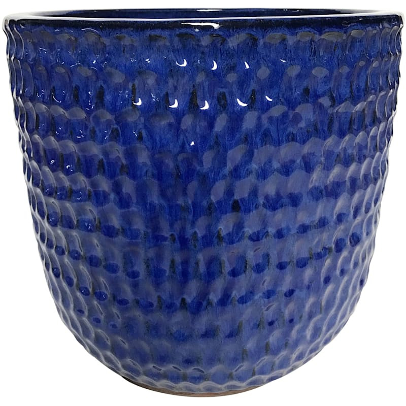 Corey 10.6in. Blue Outdoor Ceramic Planter