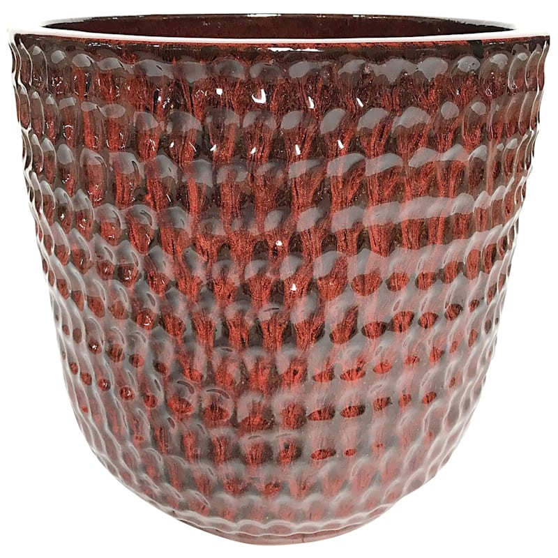 Corey 10.6in. Tropical Red Outdoor Ceramic Planter