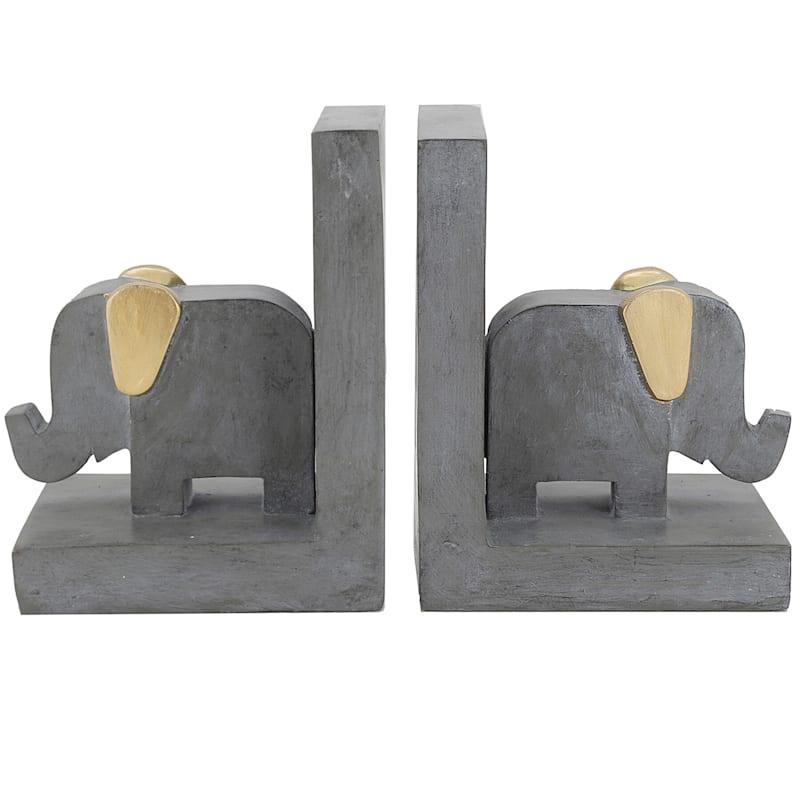 11X7 Grey Resin Elephant Bookend