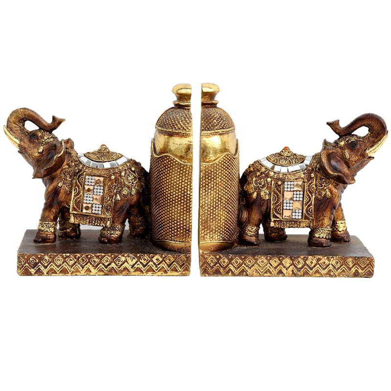 6in. Gold Resin Elephant Bookend