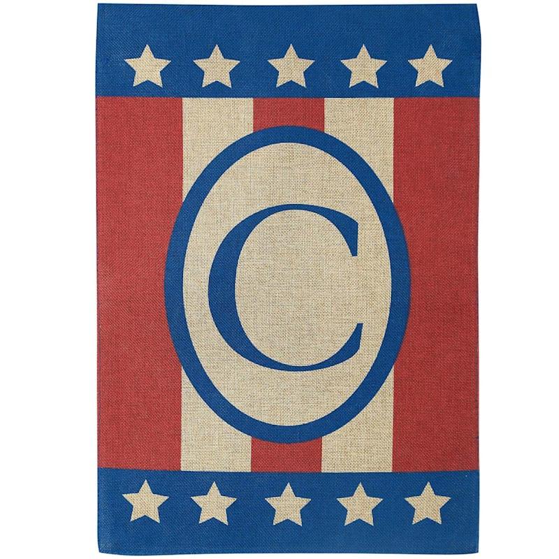 C Burlap Monogram Patriotic