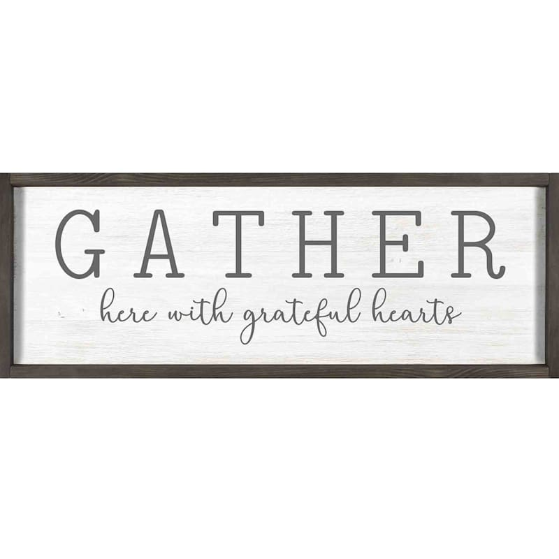 12X36 Gather Here With Grateful Hearts Framed Textured Art
