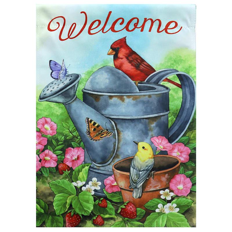 Welcome Birds Watering Can Garden Flag