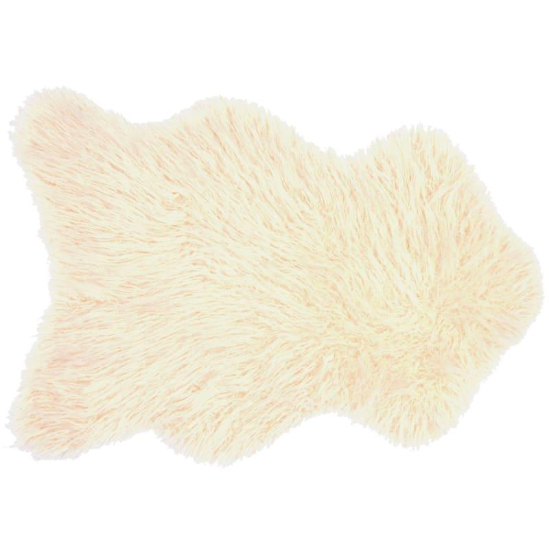 Altai Mongolian Faux Fur Ivory Area Rug, 3x5