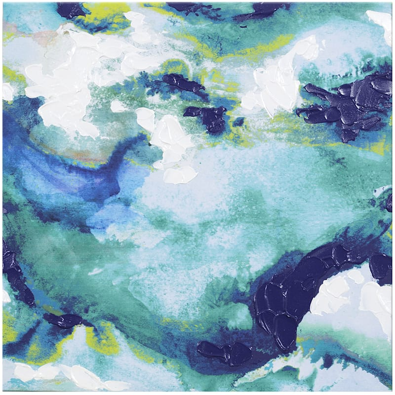 12X12 Blue Abstract Watercolor Canvas Wall Art