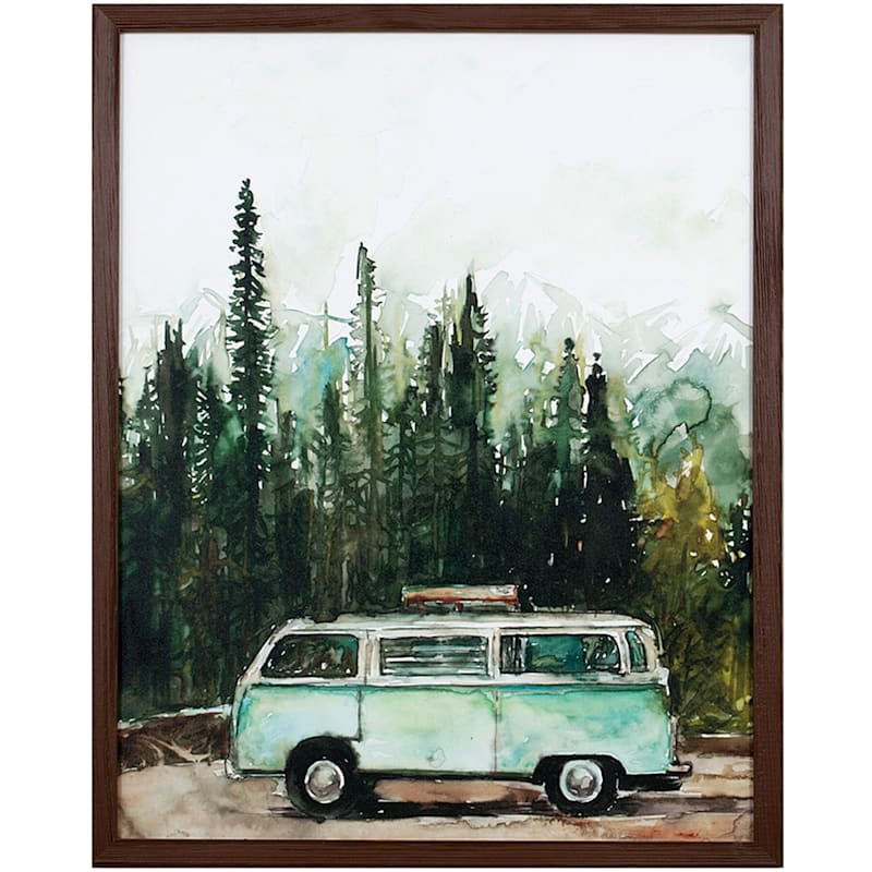 16X20 Retro Van In The Woods Framed Wood Wall Decor