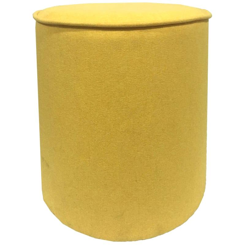"Casanovas Yellow Round Ottoman, 18"""