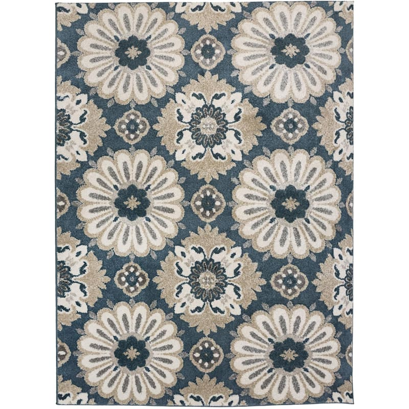 (B513) Camille Blue Floral Area Rug, 7x10