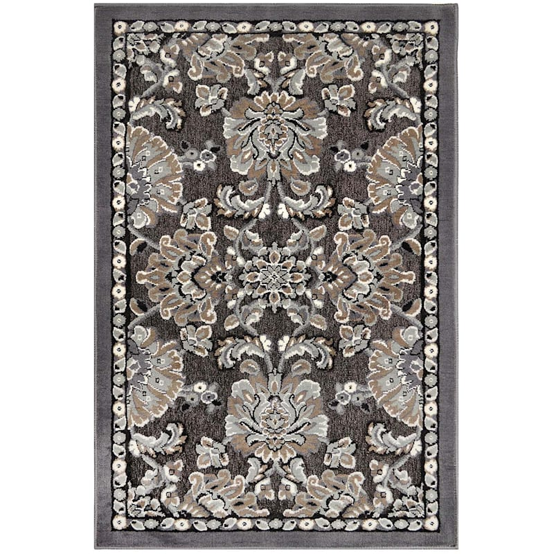 Arrington Damask Chenille High/Low Textured Accent Rug Grey & Spice, 2x4