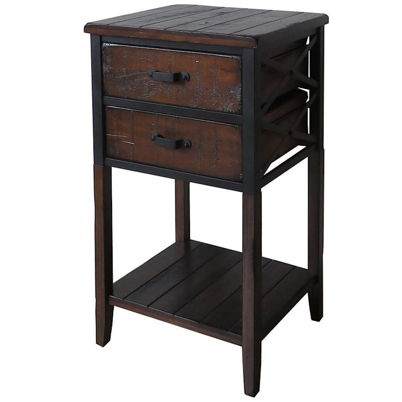 Wood And Metal X-Side Table