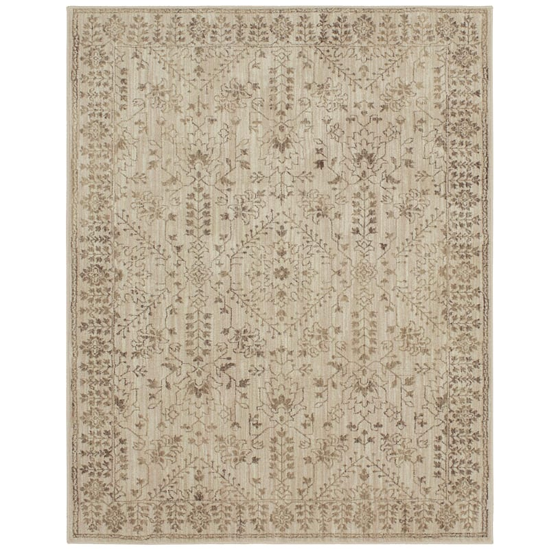 (A394) Coppell Medallion Ivory & Beige Accents Rug, 8x10