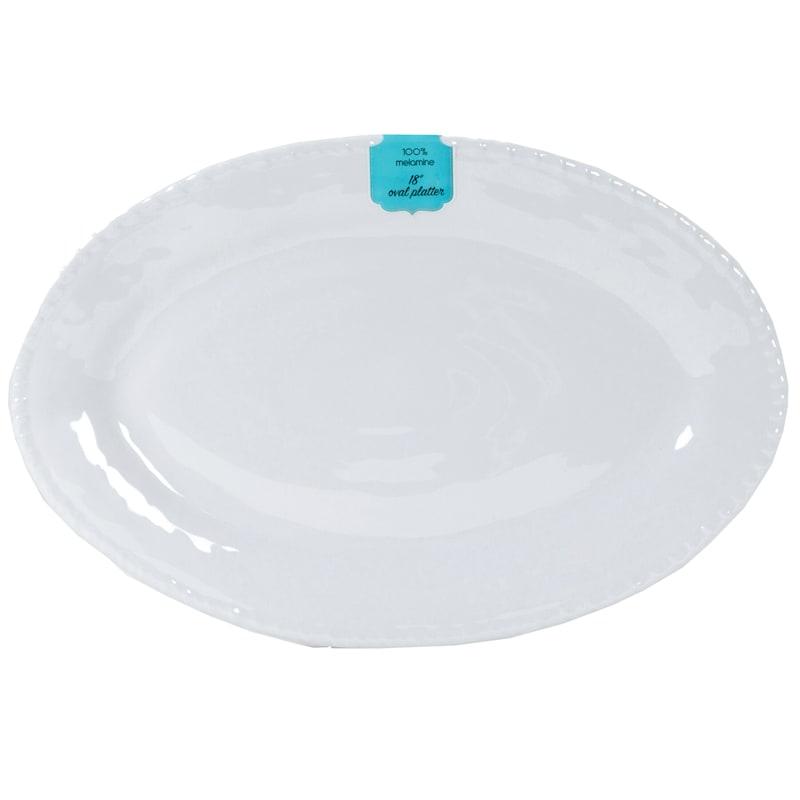 White Roped Oval Platter