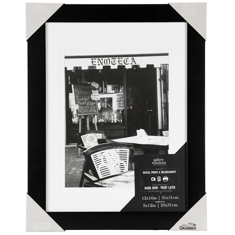 15X19 Matted To 9X12 Black Linear Profile Photo Wall Frame