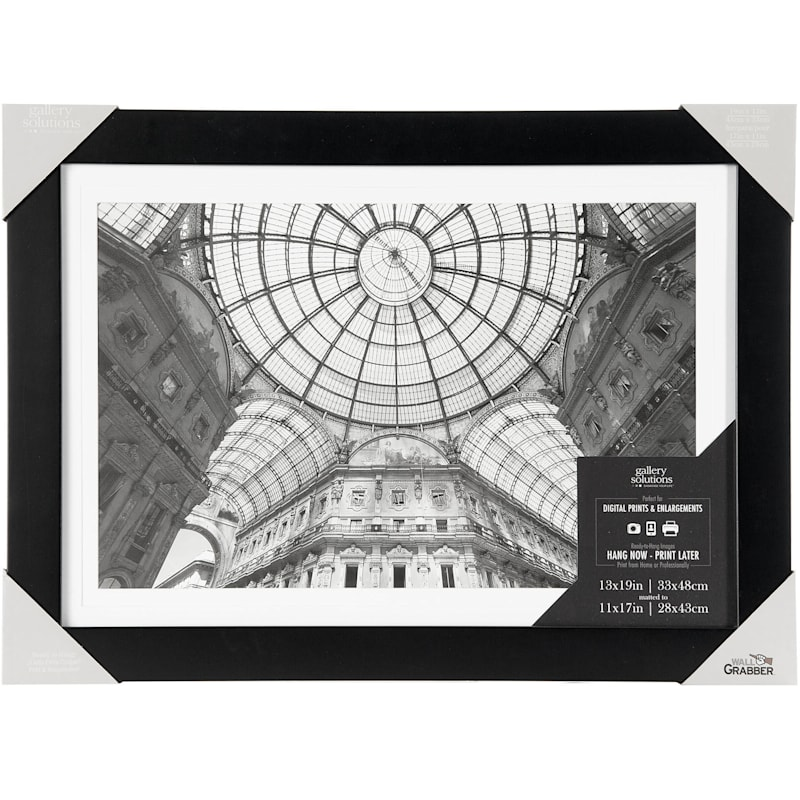 15X19 Matted To 11In.X17In. Wide Black Linear With White Mat Photo Wall Frame