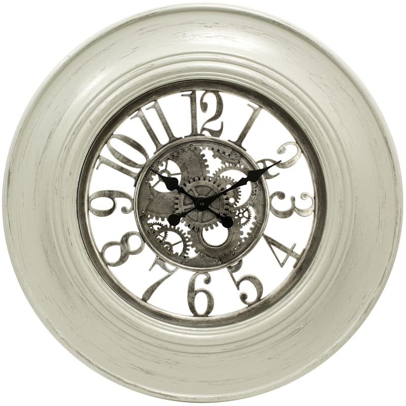 30in. White/Silver Round Agent Gear Wall Clock