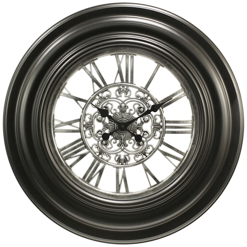 30in. Black/Silver Round Medallion Wall Clock With Clear Dial