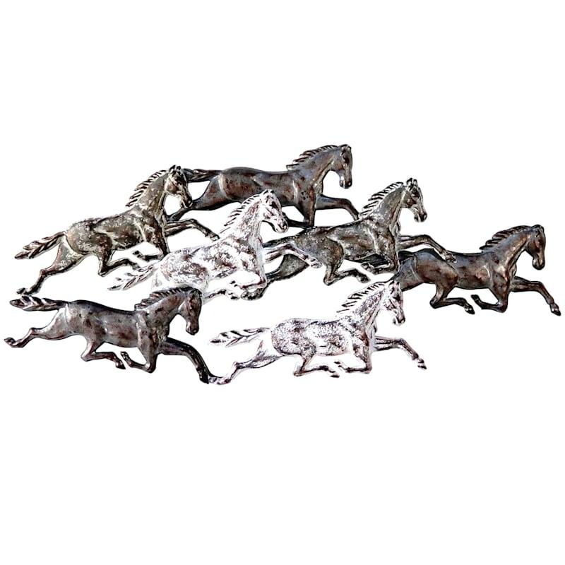 40X17 Metal Horses Wall Art