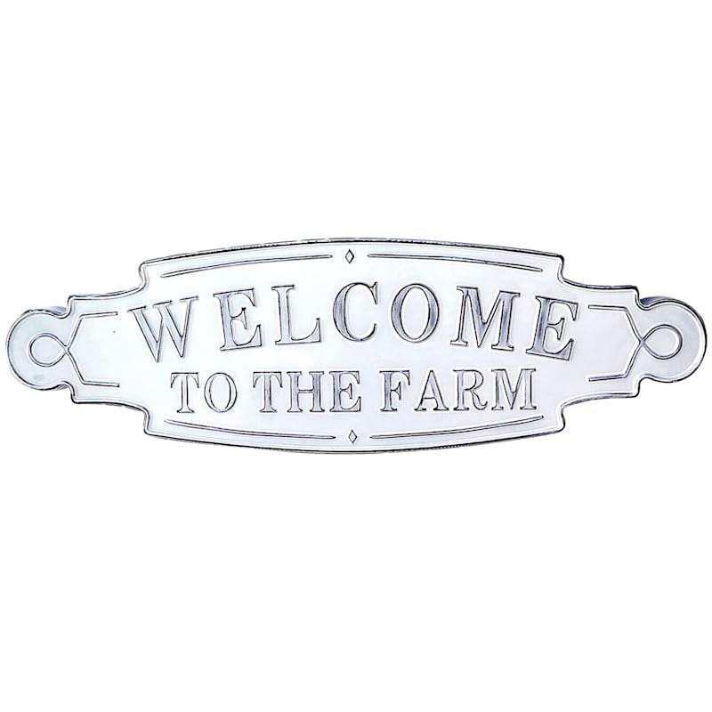 36X11 Metal White Welcome Sign Wall Art