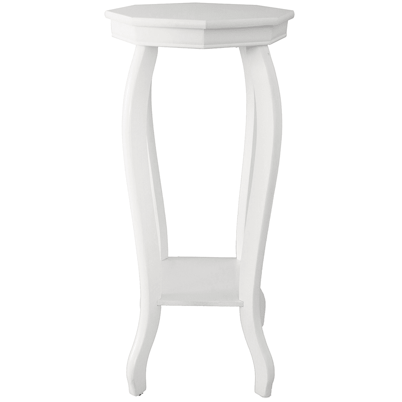 Wood Octagon Top Plant Stand White
