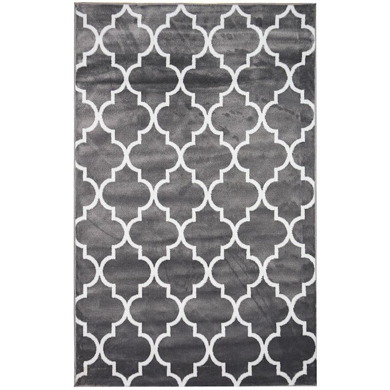 (D394) Dark Grey & White Modern Quatrefoil Design Rug, 8x10