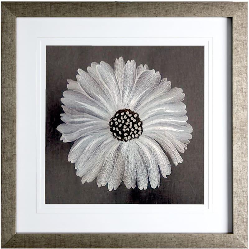 20X20 Bloom Embroidered Framed/Glass Art