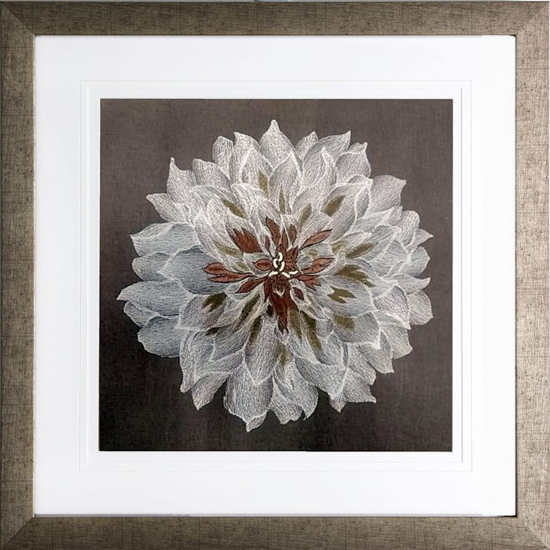 20X20 Blossom Embroidered Framed/Glass Art