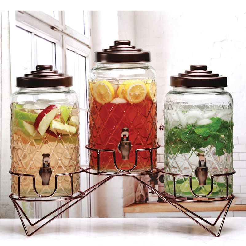 138oz Set Of 3 Drink Dispensers On A Metal Stand