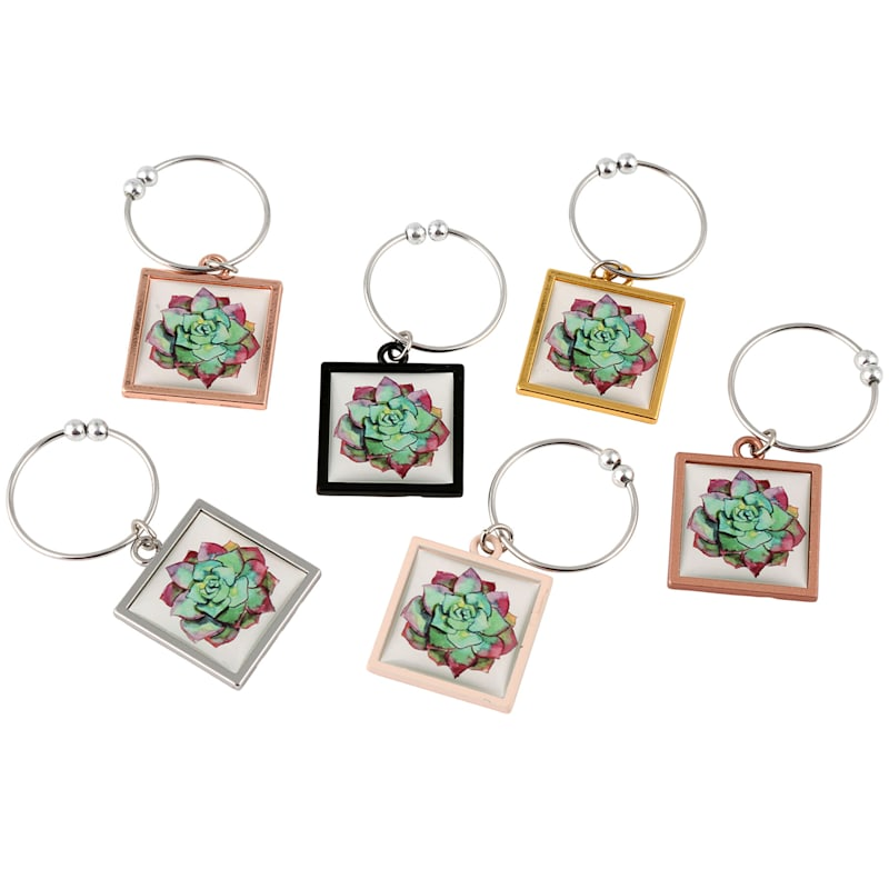 S/6 SUCCULENT WINE CHARMS