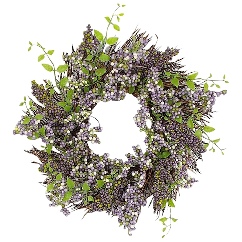 GREEN AND PURPLE BERRY WREATH