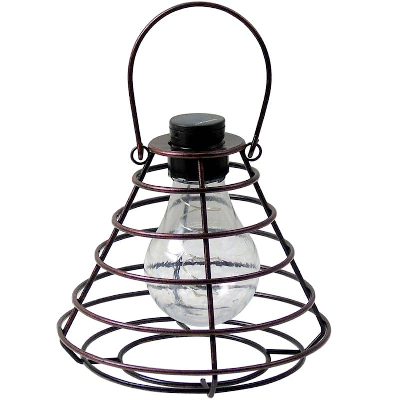 """Brown Metal Hanging Dome Lantern, 8"""""""
