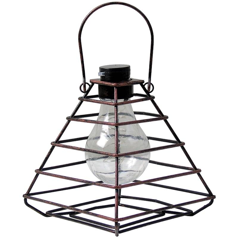 """Brown Metal Hanging Pyramid Lantern, 9"""""""