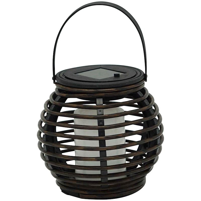 6X6in. Black Faux Rattan Solar Lantern